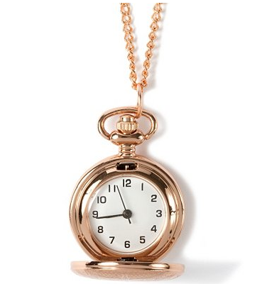 Rose Gold Pocket Watch Pendant Necklace $20 at CLAIRE'S