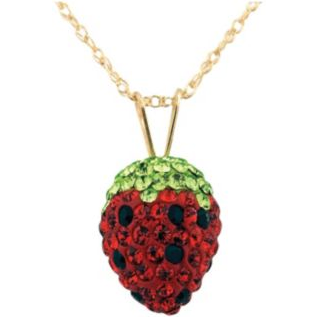 Crystal Strawberry Pendant on 10K Gold Chain $56 @ GETTINGTON