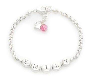 Personalized Identity Bracelet with Pink Swarovski $88 at LAYLA GRACE