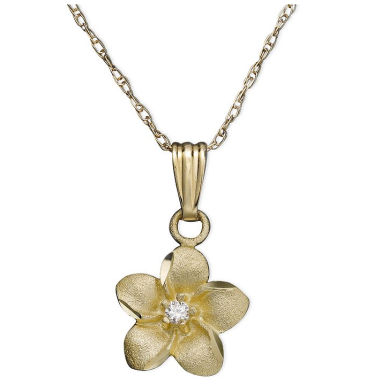 14K Gold & Diamond Flower Necklace $188 sale at MACYS