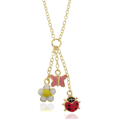 Molly and Emma 18K Gold Overlay Enamel Charm Necklace $23 at OVERSTOCK