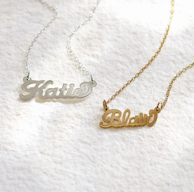 Initial Reaction Cursive Word Necklace $129/$380 at PB TEEN