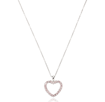 Crislu Stone Heart Sterling Necklace (pink or white) $36 at VON MAUR
