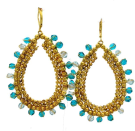 Brass & Teal Glass Earrings$16 @ OVERSTOCK