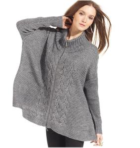 DKNY Long Sleeve Zip-Up Poncho Sweater$89 (from $139) @ MACYS