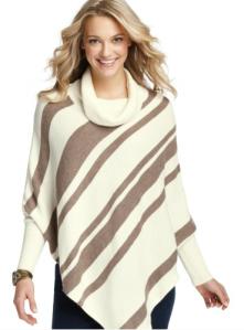 Asymmetrical Blanket Strip Cowl Neck Poncho$65 @ LOFT