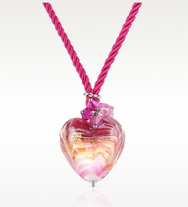 Pink Murano Glass Heart Pendant Necklace$115 @ FORZIERI