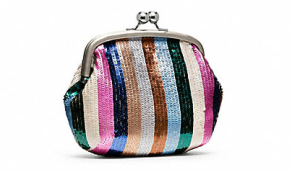 Legacy Poppy Stripe Sequin Clutch$298 @ COACH
