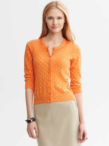 Clarissa Dot Print Cardigan  $58 (was $69.50) BANANA REPUBLIC