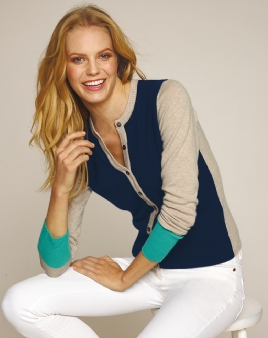 Color-block Cashmere Cardigan  $198 PURE COLLECTION