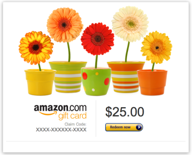 Personalized Gift Cards (available in print-at-home or via mail) Amazon $25+