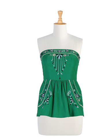 Peasant Embroidered Peplum Top $49.99 @ eShakti