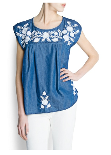 Denim Embroidered Blouse $49 @ MANGO