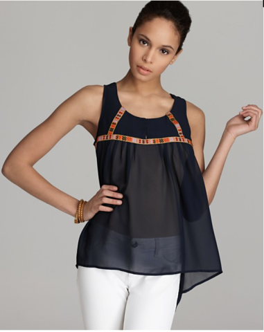 Aqua Embroidered Trim Tank $68 @ BLOOMINGDALES