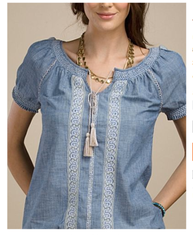 Chambray Embroidered Smock Top Blouse $29.97 (was $89) @ LUCKY BRAND JEANS