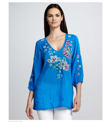 Johnny Was Bay Feather Embroidered Blouse $208 @ NEIMAN MARCUS
