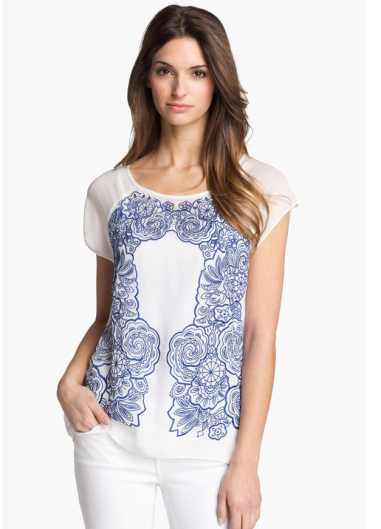 Adrianna Papell Embroidered Blouse $99 @ NORDSTROMS