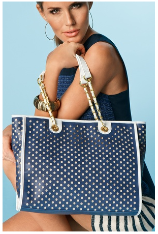 Leather Perforated Tote  $98 sale at BOSTON PROPER