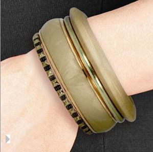 Set of 4 Brass & Natural Wood Bracelets $7 at JEWELRY.COM