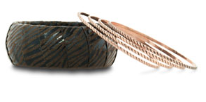 Set of 1 Wooden & 4 Rose Gold Tone Bracelets $7 at JEWELRY.COM