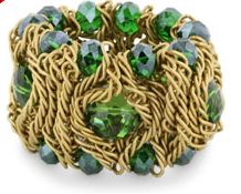 Chunky Green Crystal & Gold Stretch Mesh Bracelet $7 at JEWELRY.COM