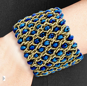 Blue Crystal & Gold Stretch Mesh Cuff Bracelet $8 at SUPERJEWELER