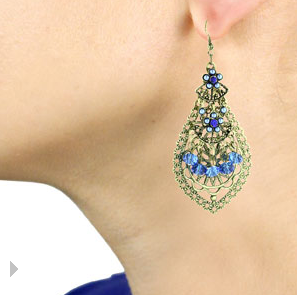 Antique Blue Flower Dangle Earrings $6 at SUPERJEWELER