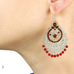 Indian-inspired red chandelier earrings $6 at SUPERJEWELER