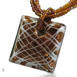 Murano Glass Pendant & Beaded Crystal Chain $6 at SUPERJEWELER