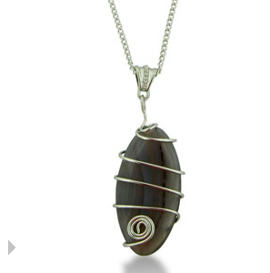 Gray Stone Agate Hand-Wired Fish Necklace & Chaine $6 at SUPERJEWELER