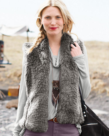 Faux Fur Vest $118 at GARNET HILL