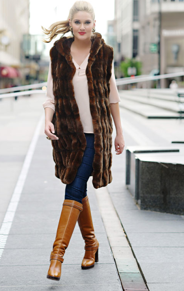 Mahoganey Mink Faux Fur Couture Hooded Vest $399 at Fabulous Furs