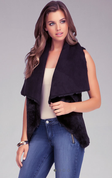 Reversible Faux Fur Vest $129 at Bebe