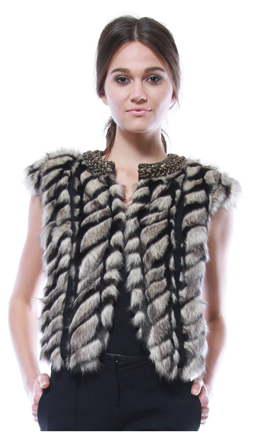 Embellished Faux Fur Vest $345 at Cynthia Vincent