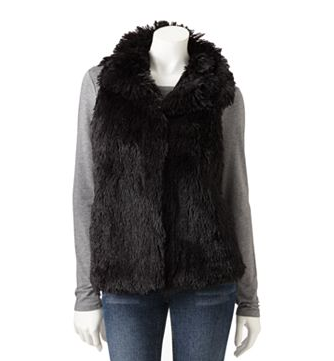 Croft & Barrow Shaggy Fur Vest $54 on sale at Kohls