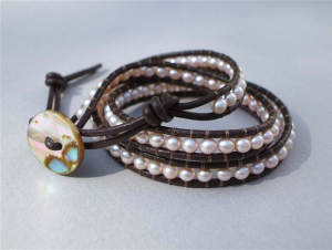 Freshwater Pearl & Leather wrist wrap bracelet $30 at Jewelry Design by Robbe