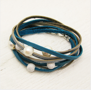 Fresh Water Pearl & Sterling Boho Leather Wrap $98 at OpenSky