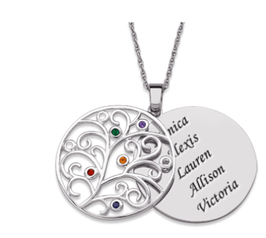 Sterling Silver Family Tree & Birthstone Pendant Necklace $89 at Limoges Jewelry