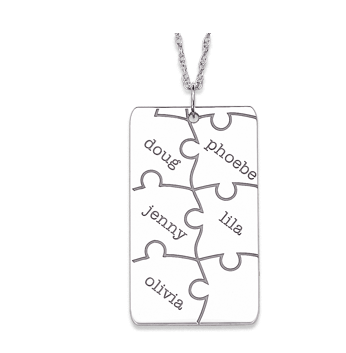 Silver Personalized Puzzle Pendant Necklace $59 at Limoges Jewelry