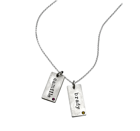 Urban Sweetpea Mod Double Birthstone Name Tag Necklace $230 at Max & Chloe