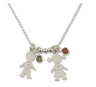 Silver Boy & Girl Name Pendant Necklace $50 at Best Personalized Jewelry
