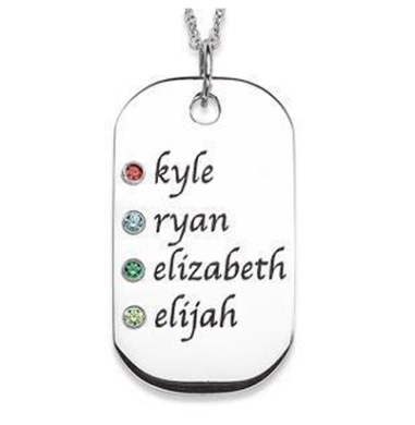 Silver Name & Gemstone Dogtag Necklace $129 at Zales