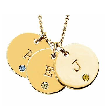 14k Rose Gold Birthstone & Initial Disc Pendants $249 at Heavenly Treasures