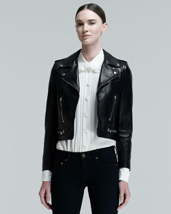Saint Laurent Cropped Leather Motorcycle Jacket $4,950 at Bergdorf Goodman