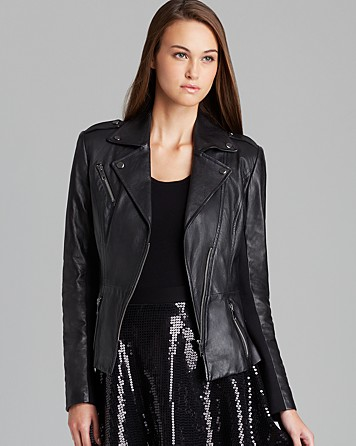 DKNY Asymmetric Zip Front Moto Jacket $895 at Bloomingdales