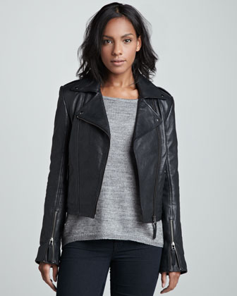 LaMarque Perfecto Cropped Moto Jacket $600 at Neiman Marcus