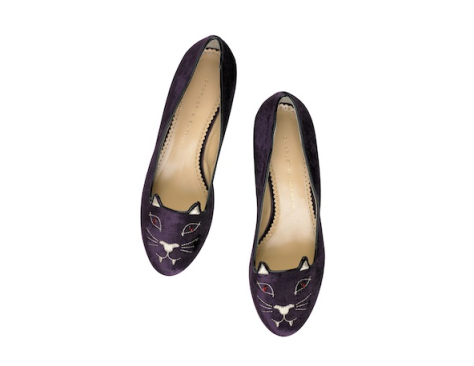 Charlotte Olympia Bite Me Kitty Embroidered Velvet Slippers $695 at Net-A-Porter