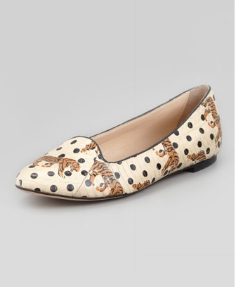 Loeffler Randall Blaise Tiger Dot Smoking Slipper, Ivory/Black $350 at Neiman Marcus