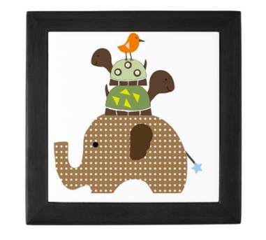 Brown Elephant with Stacked Turtles Keepsake Box $29.50 at CafePress